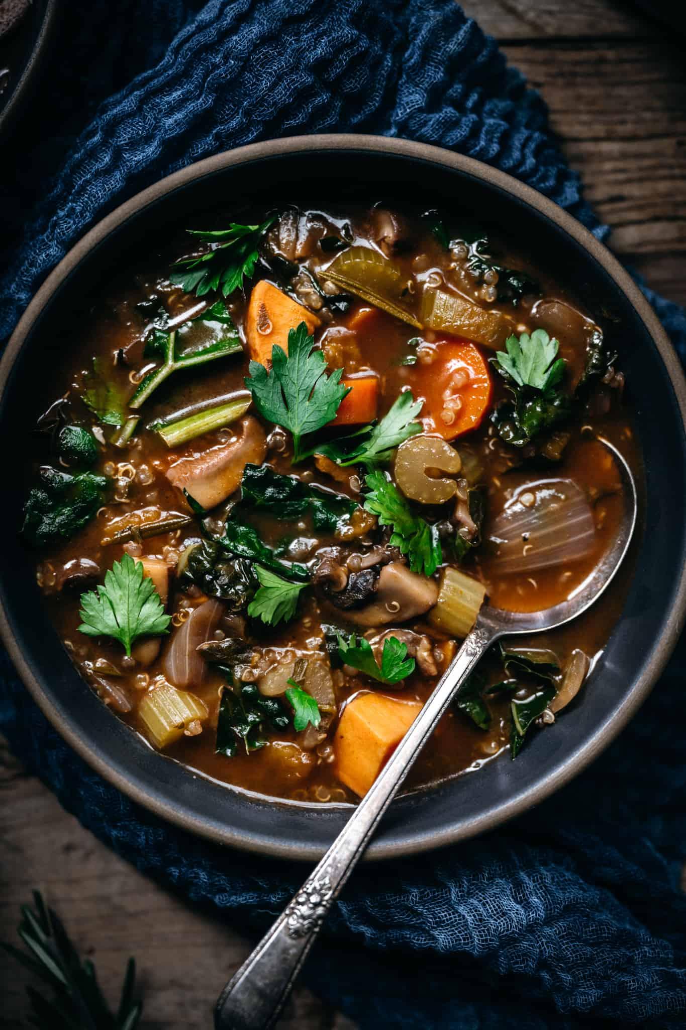 close up overhead view of mushroom quinoa vegetable stew