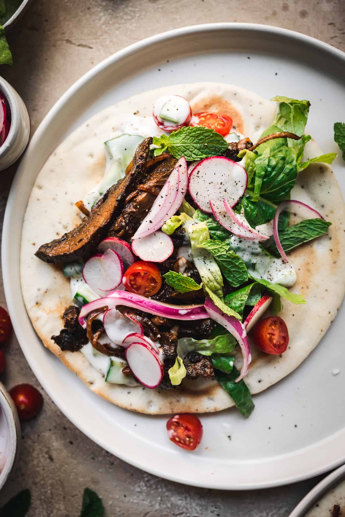 close up view of vegan shawarma on a gluten free pita