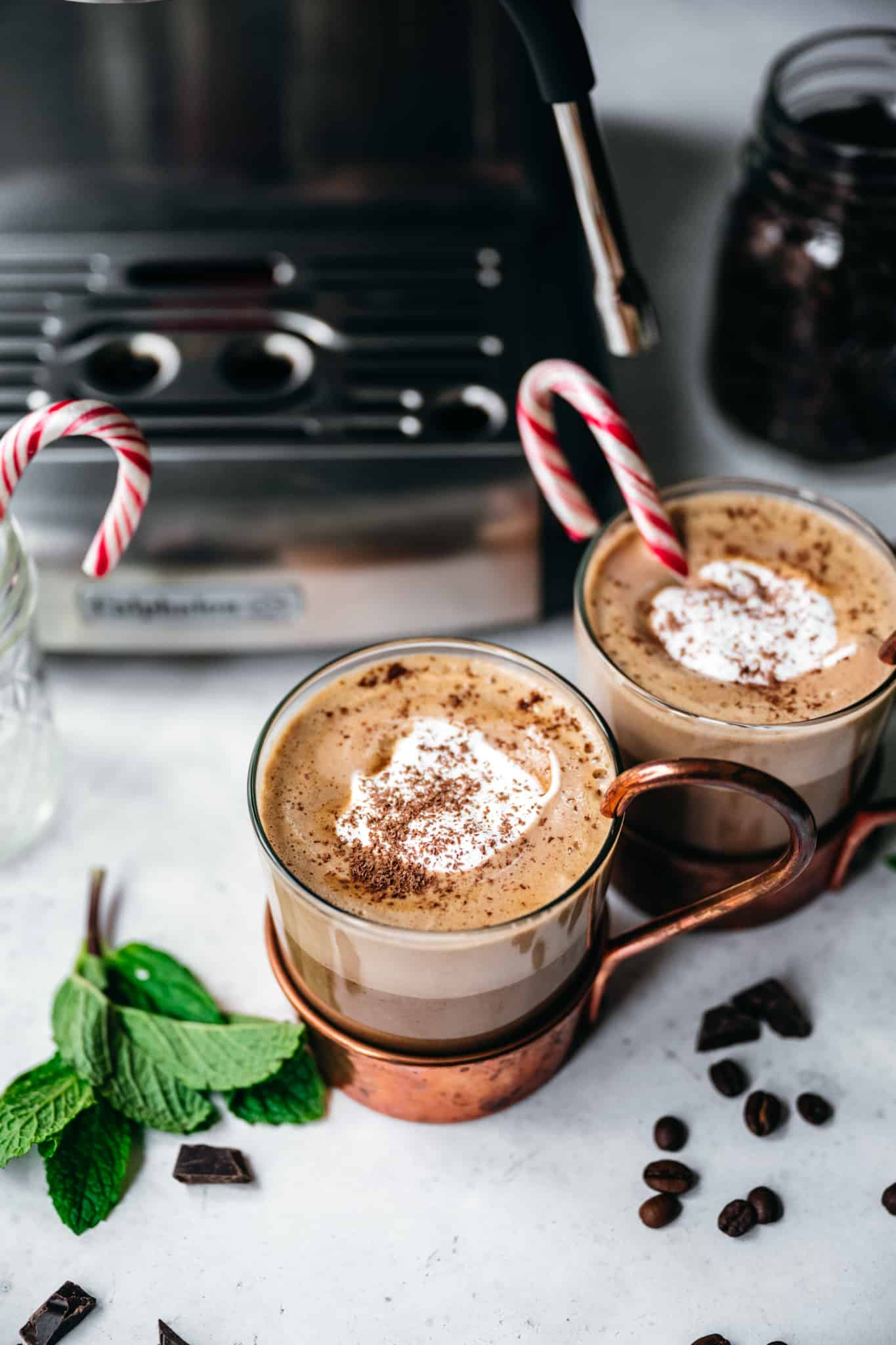Vegan peppermint mochas topped with whipped cream