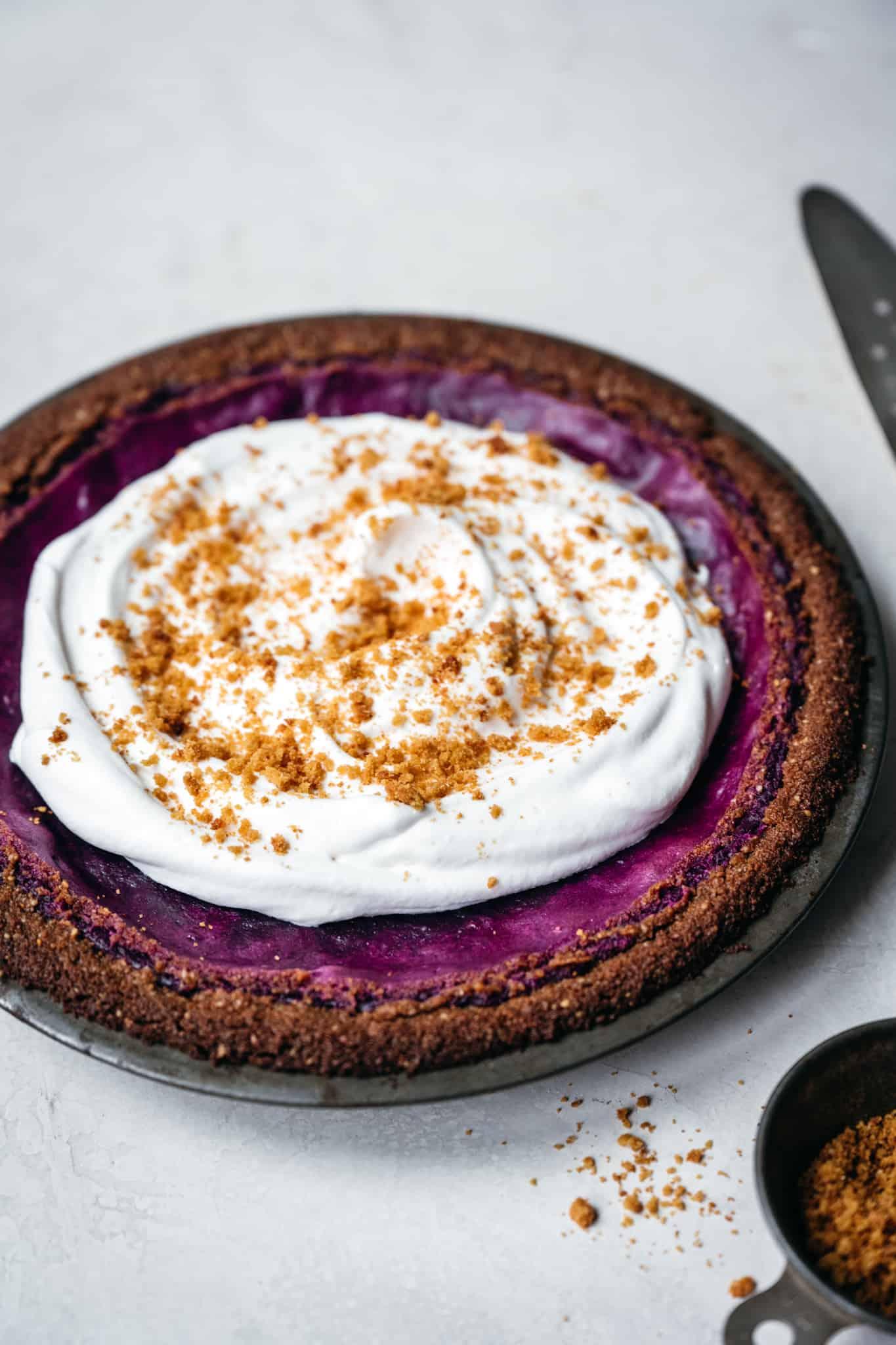 side view of whole purple sweet potato pie