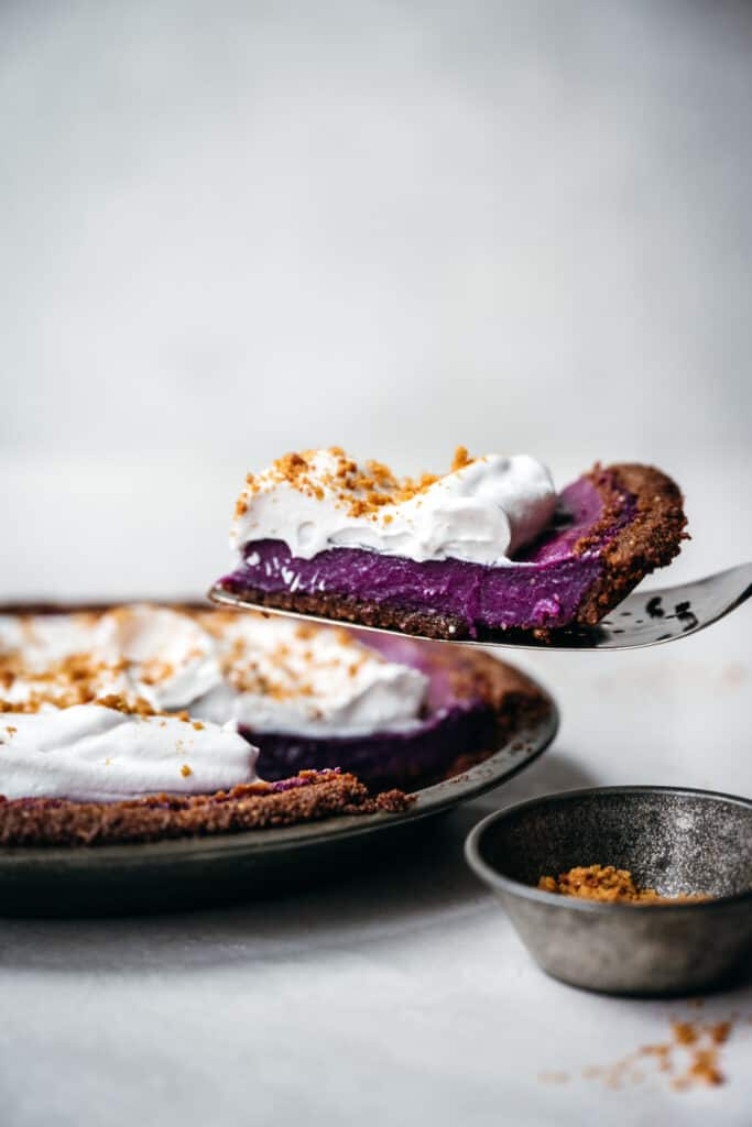 side view of slice of vegan purple sweet potato pie
