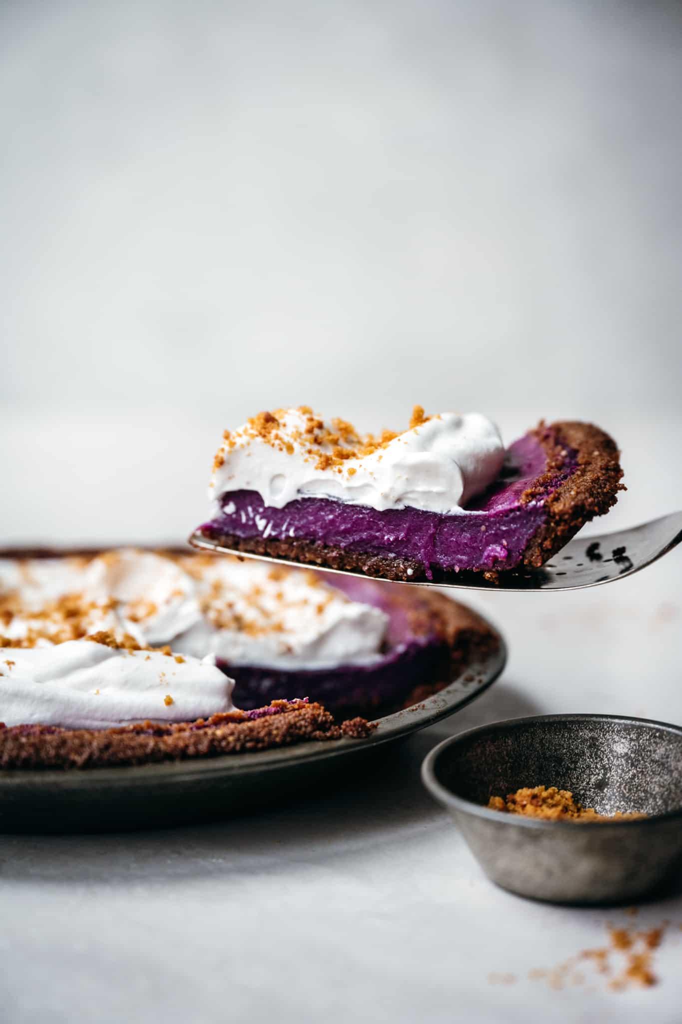 side view of slice of vegan purple sweet potato pie