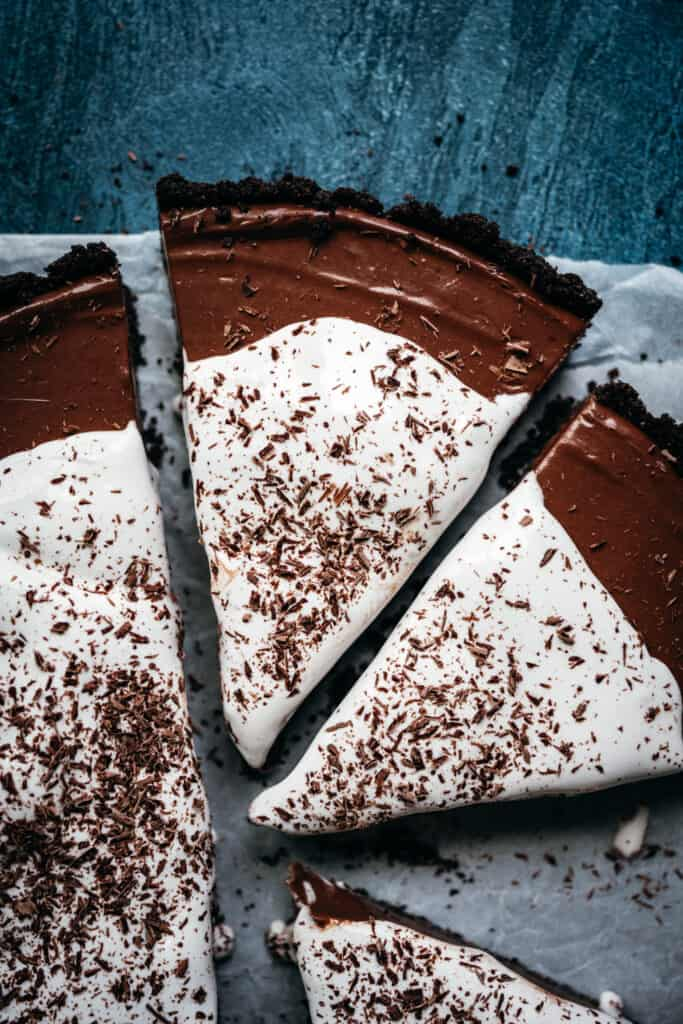 close up overhead view of chocolate pie with whipped cream