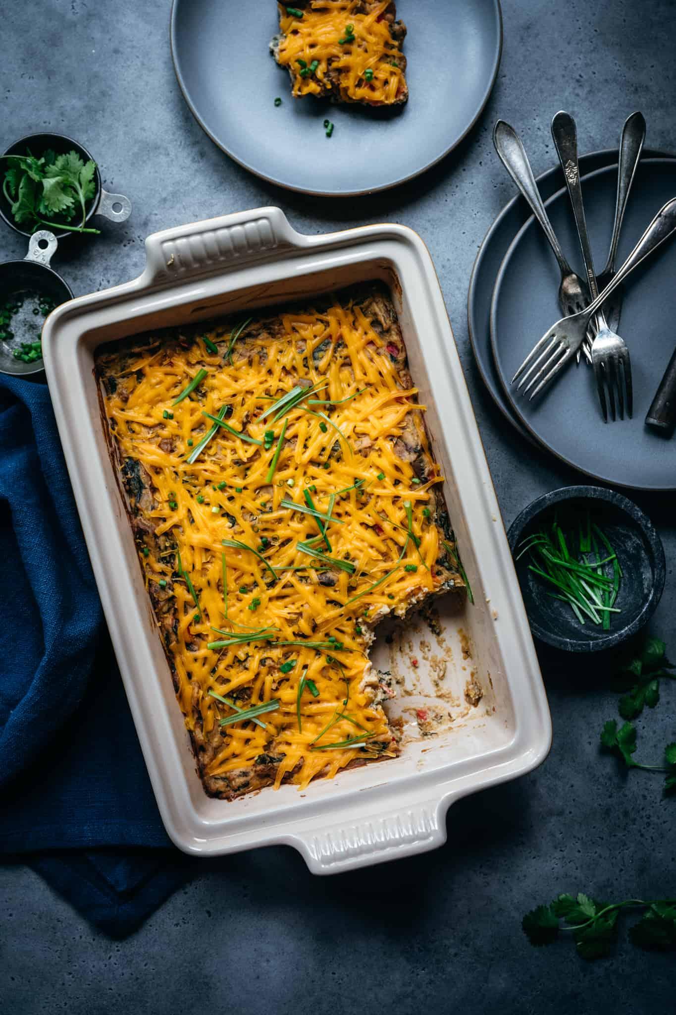 overhead view of vegan breakfast casserole