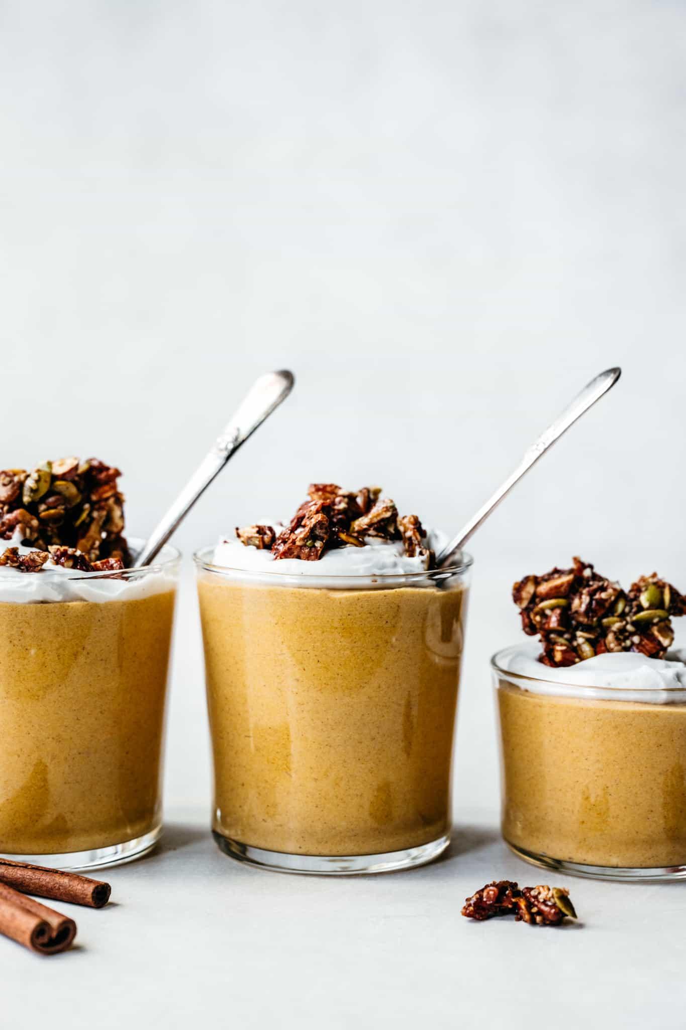 Side view of 3 jars of vegan pumpkin mousse