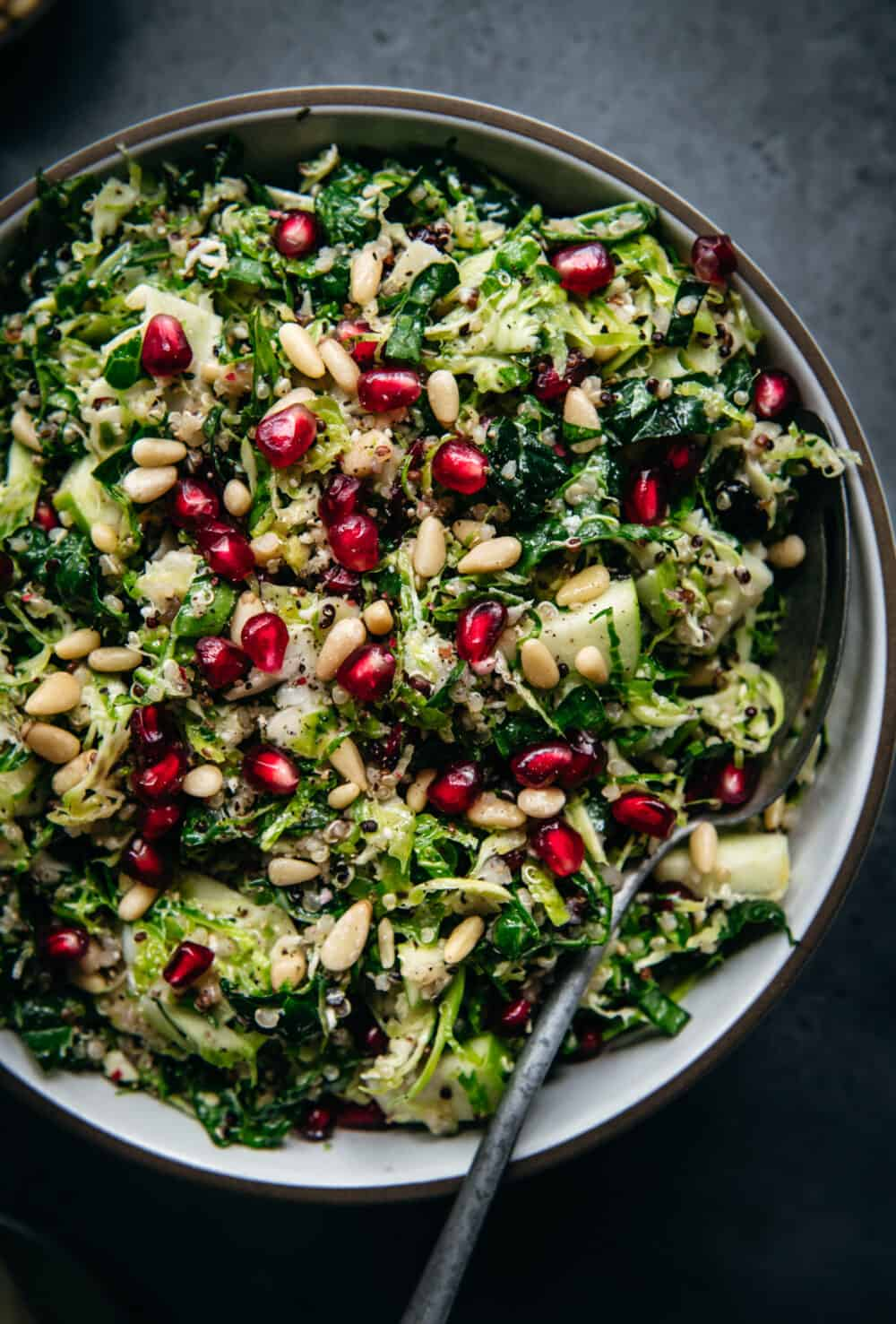 close up of shaved brussel sprout salad topped with pomegranate seeds and cranberries in a bowl