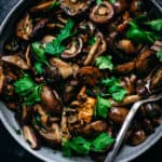 overhead of pan seared wild mushrooms in a bowl
