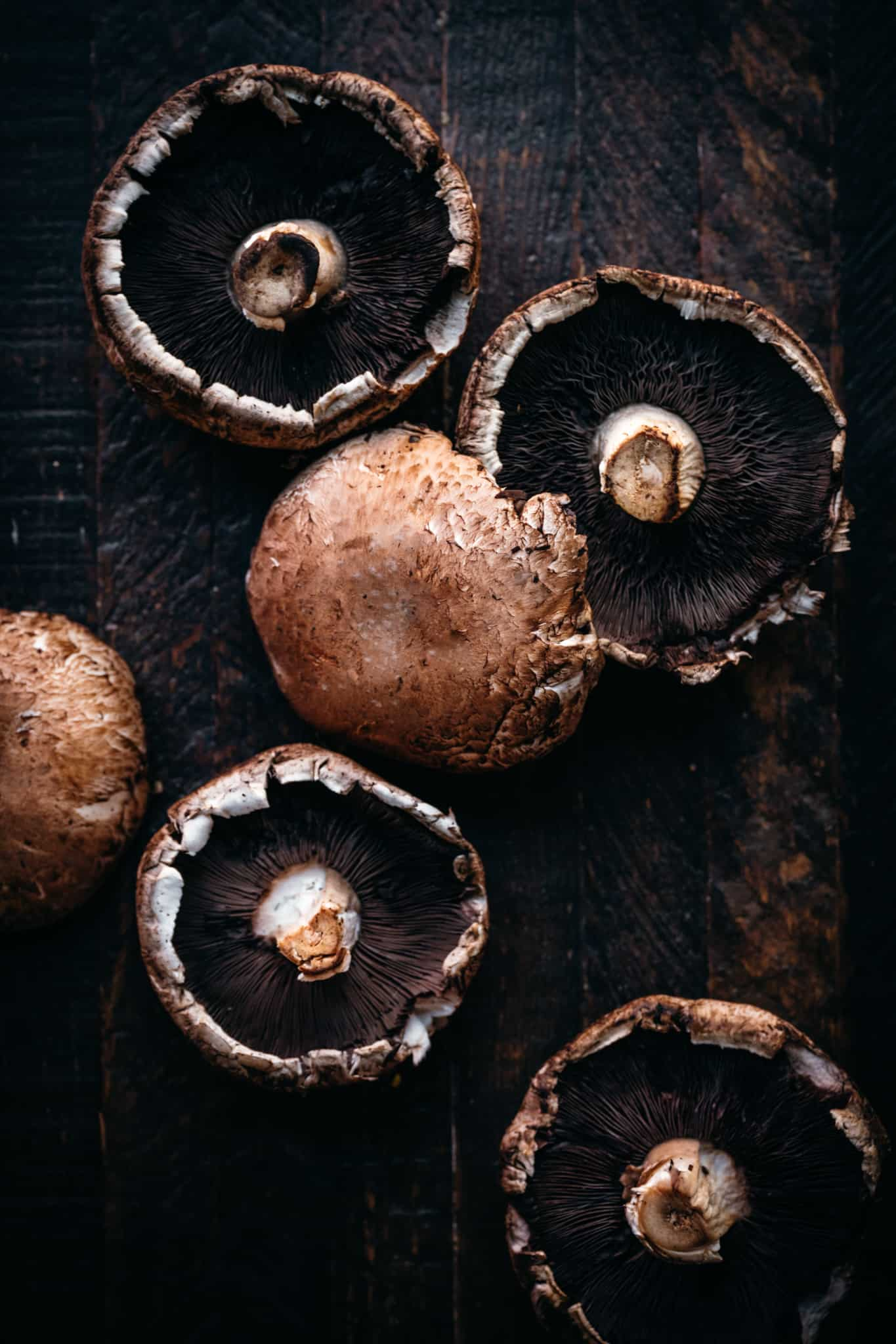 overhead of portobello mushroom caps