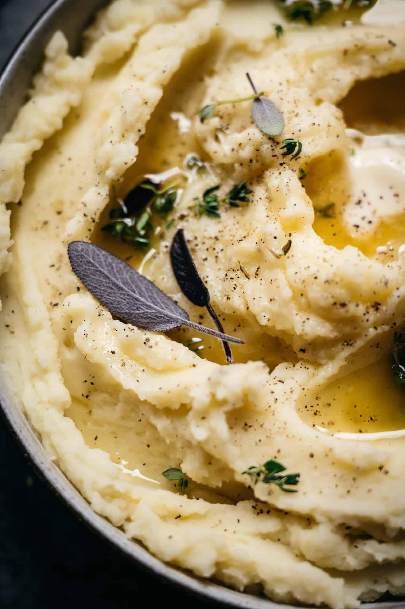 close up photo of creamy vegan mashed potatoes