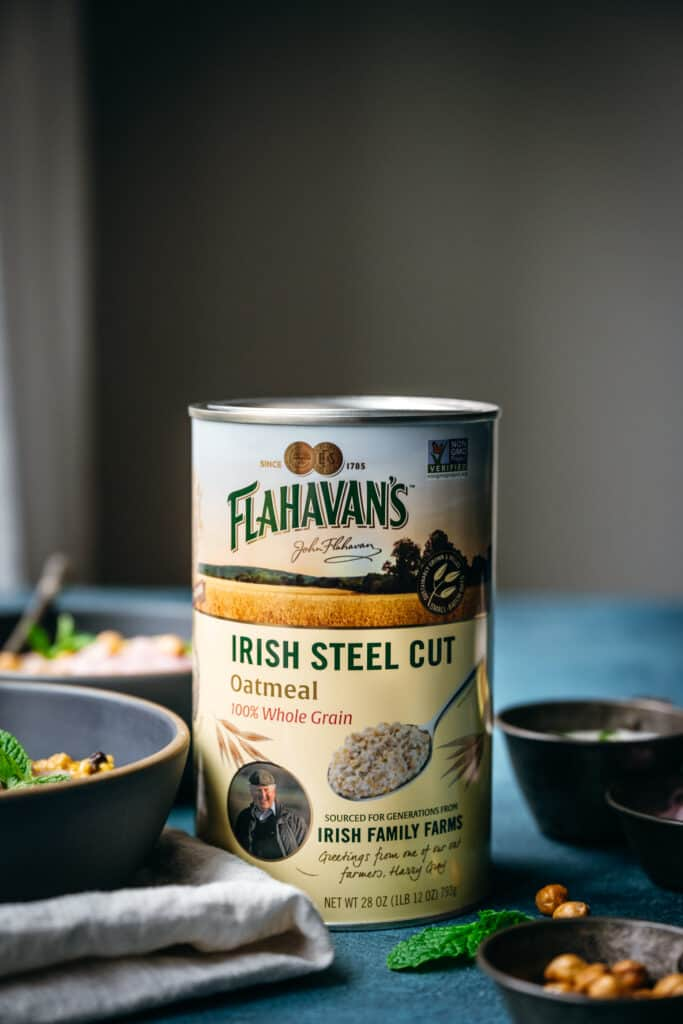 side view of can of Flahavan's Irish Steel Cut Oats