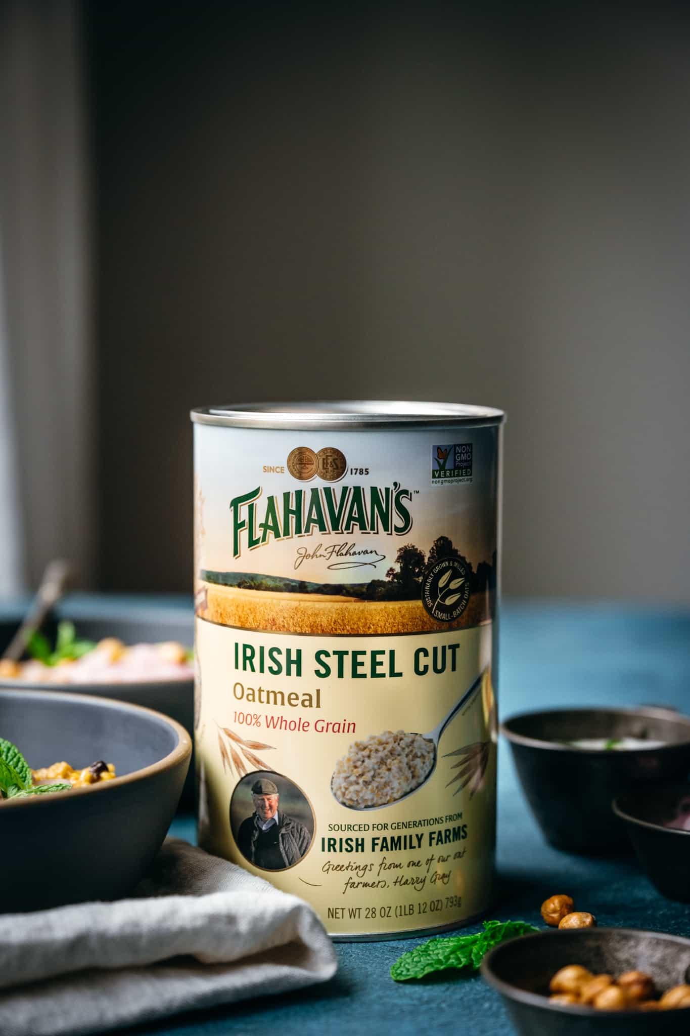 side view of can of Flahavan's Irish Steel Cut Oats