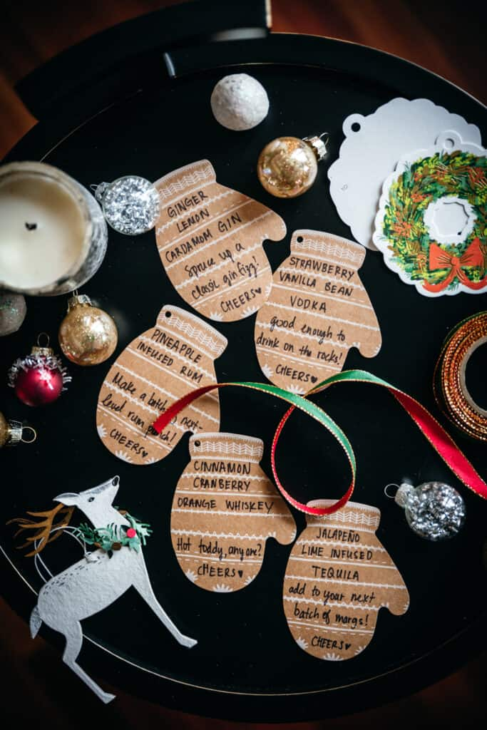 overhead view of labels for infused liquor gifts