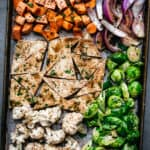 Veggies in a sheet pan seen from above.