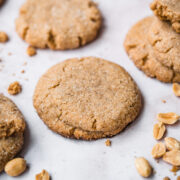 close up view of vegan peanut butter cookie.