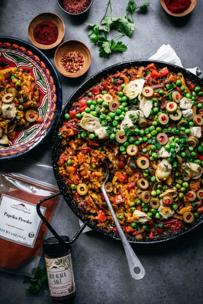 overhead view of vegan paella in paella pan