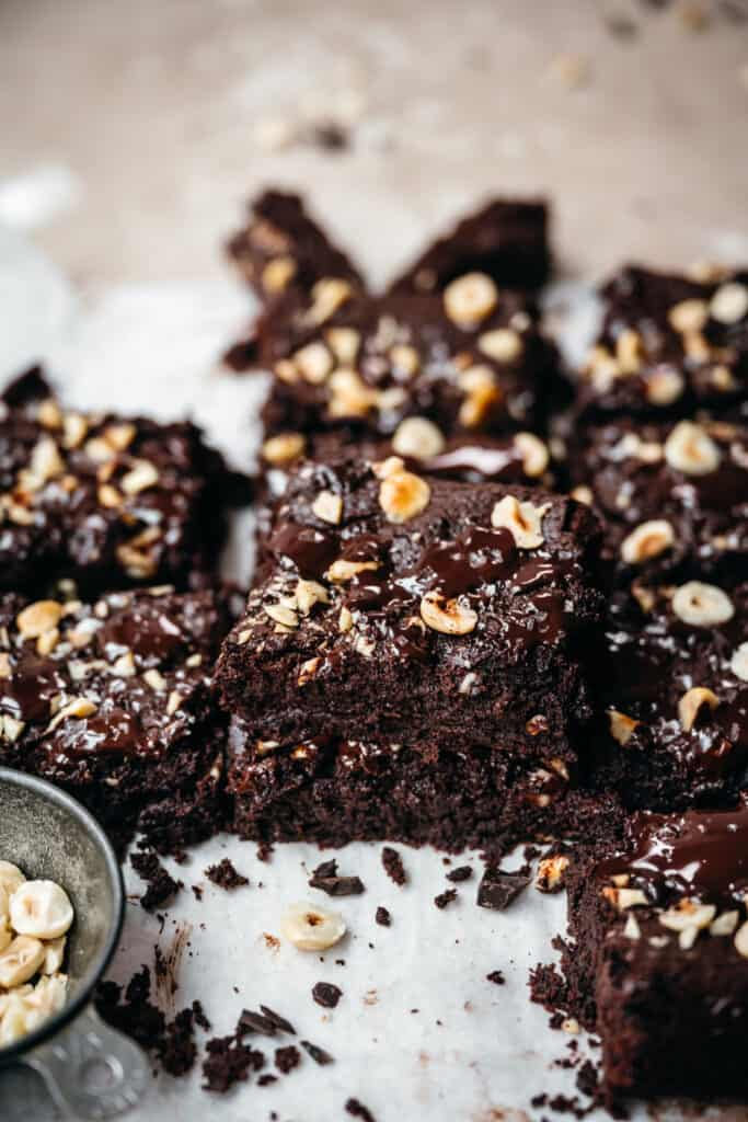 stack of gluten free vegan hazelnut tahini brownies