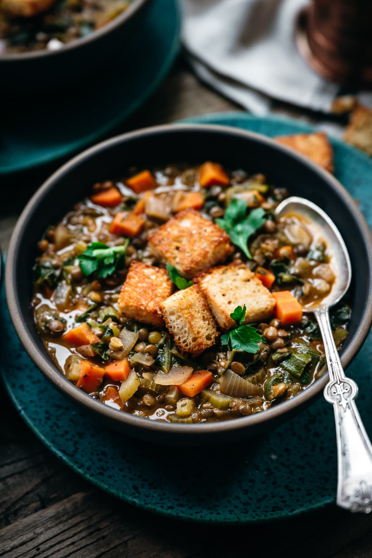close up side view of vegan lentil vegetable stew with spoon in bowl
