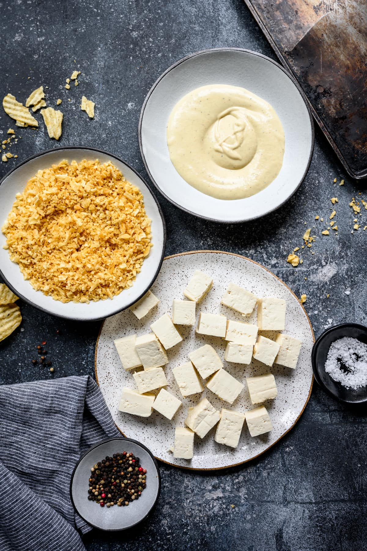 overhead view of ingredients for baked tofu nuggets