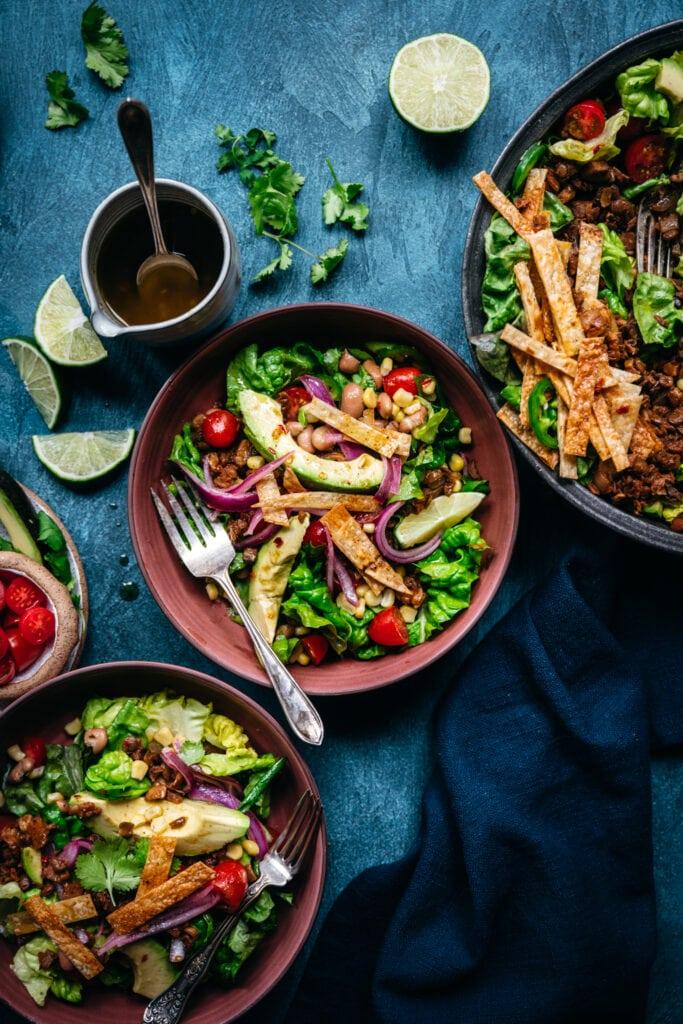 overhead view of vegan taco salad in bowls