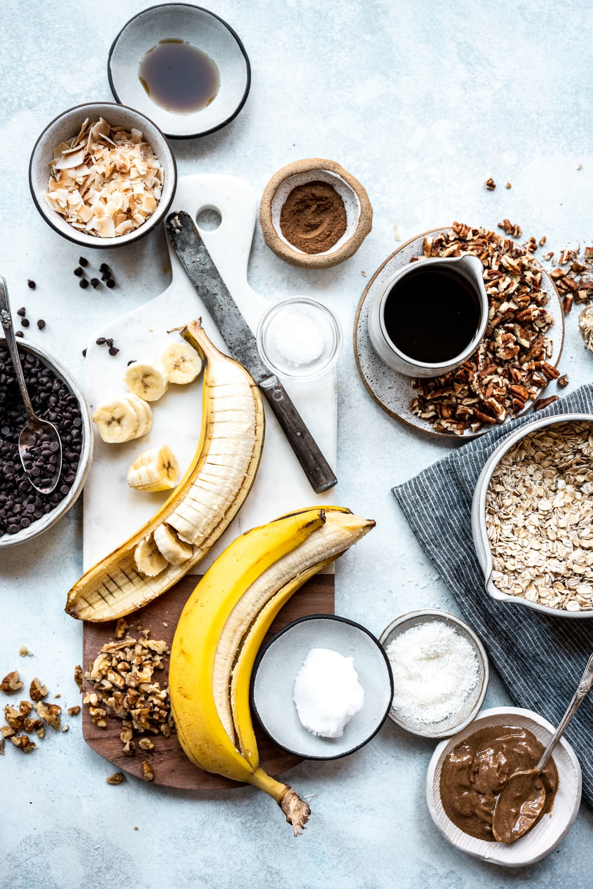 overhead view of ingredients for homemade banana bread granola