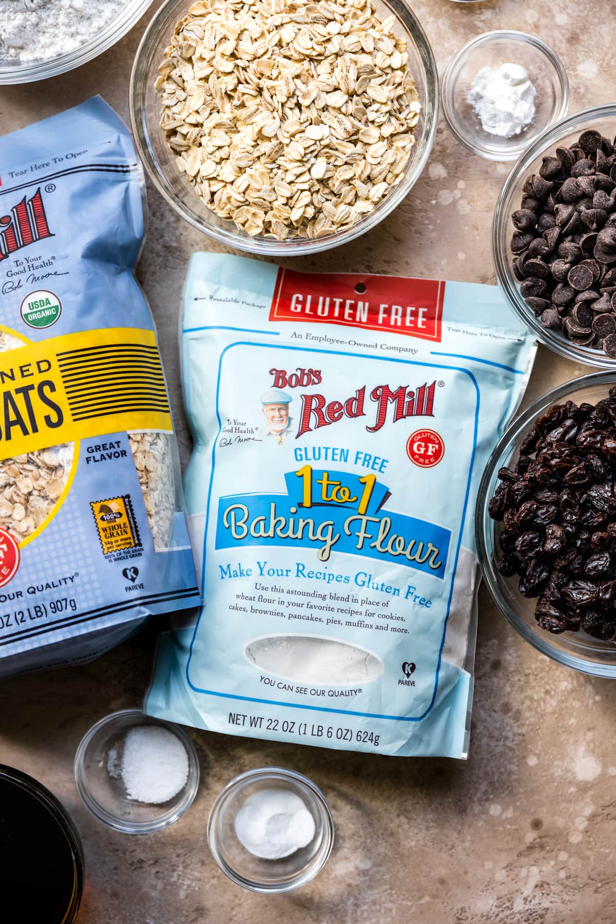 overhead view of bowl of bob's red mill gluten free flour
