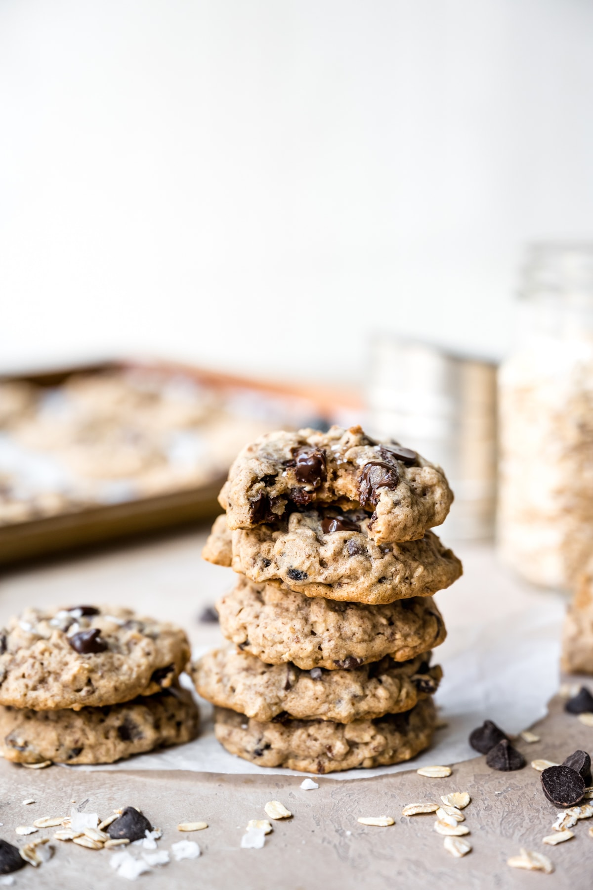 side view of stack of oatmeal raisin chocolate chip cookies