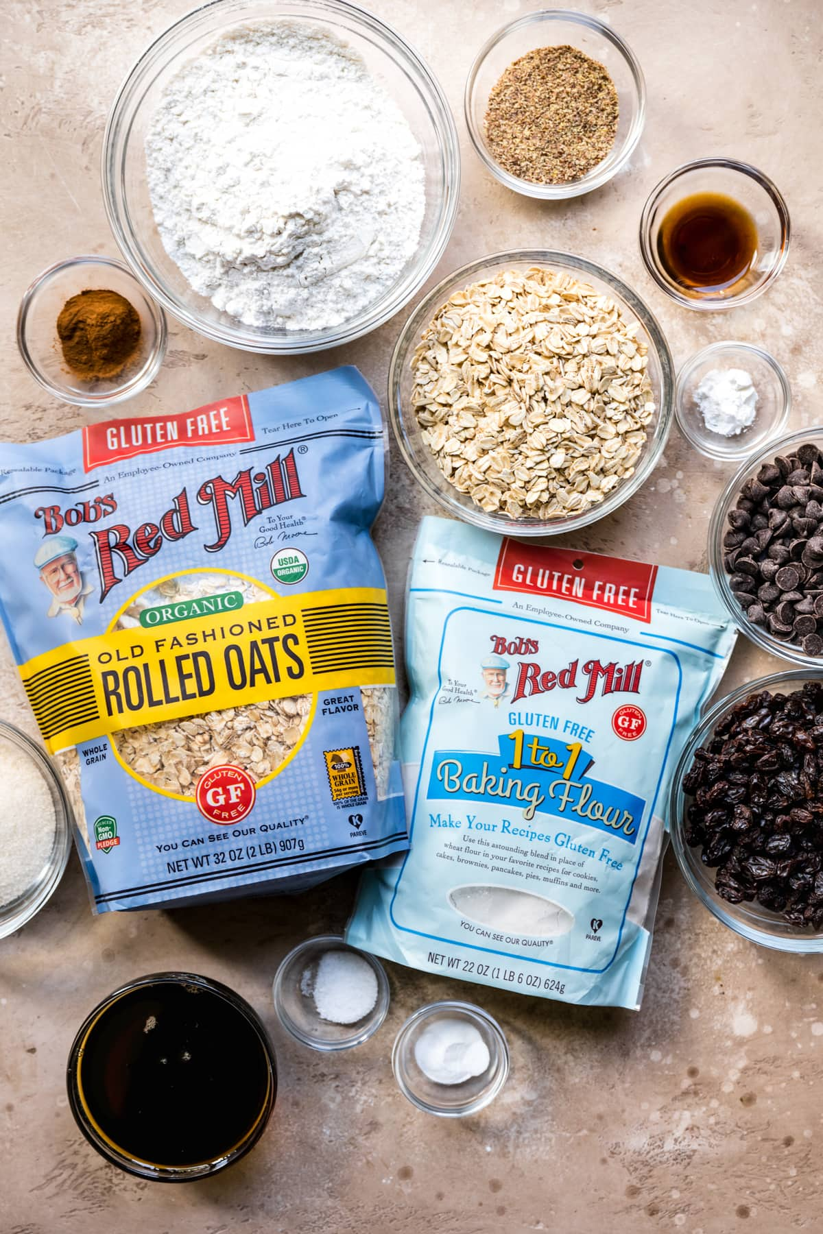 overhead view of bowl of bob's red mill gluten free flour and oats