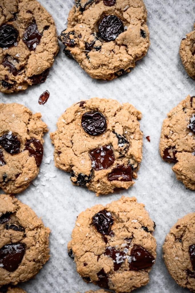 overhead view of dark chocolate tart cherry cookies