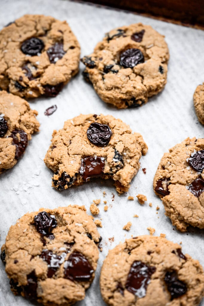 close up view of chocolate chip cherry cookie