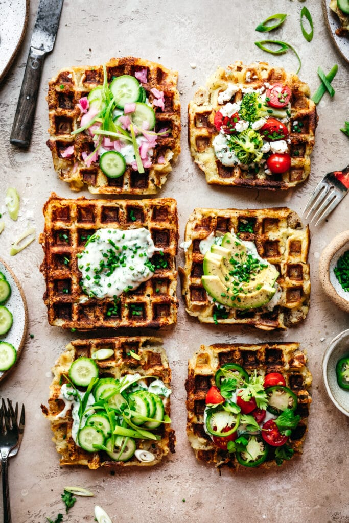 overhead view of savory mashed potato waffles