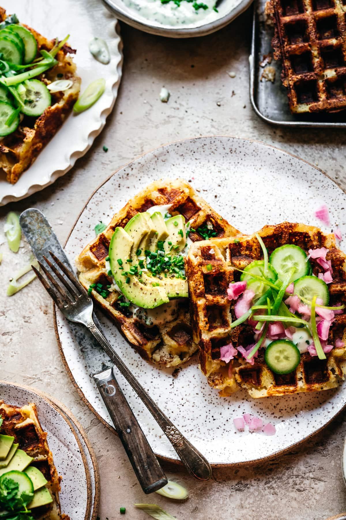 overhead view of savory mashed potato waffles on a plate
