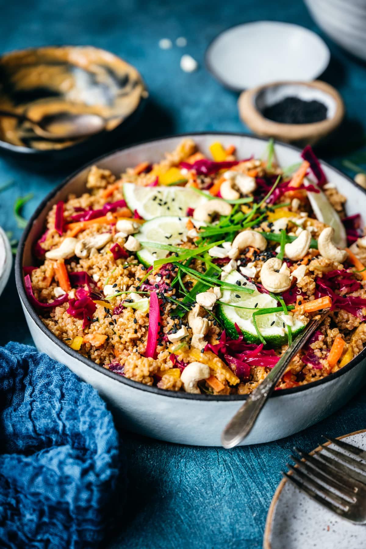 side view of thai peanut quinoa salad