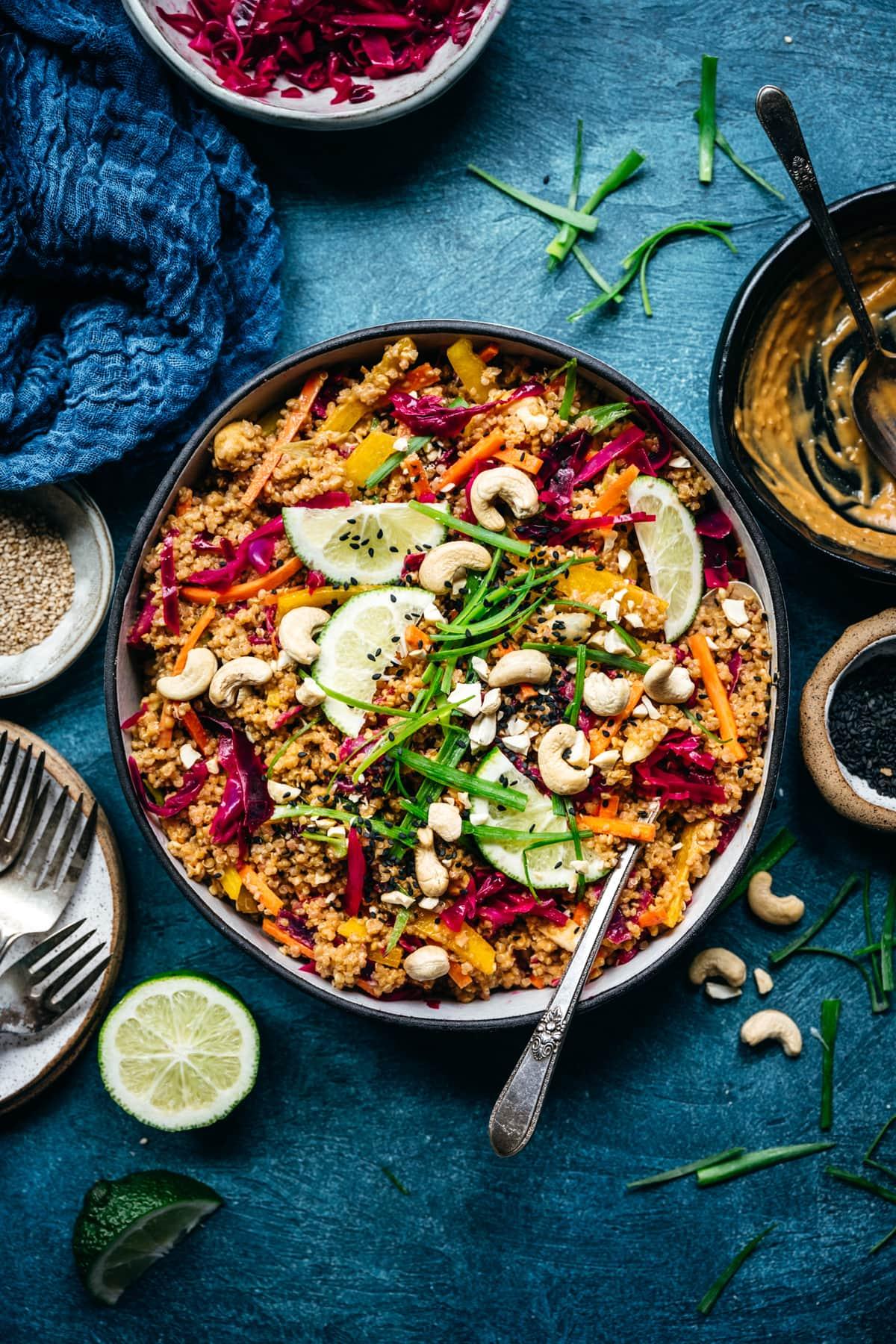 overhead view of vegan thai quinoa salad
