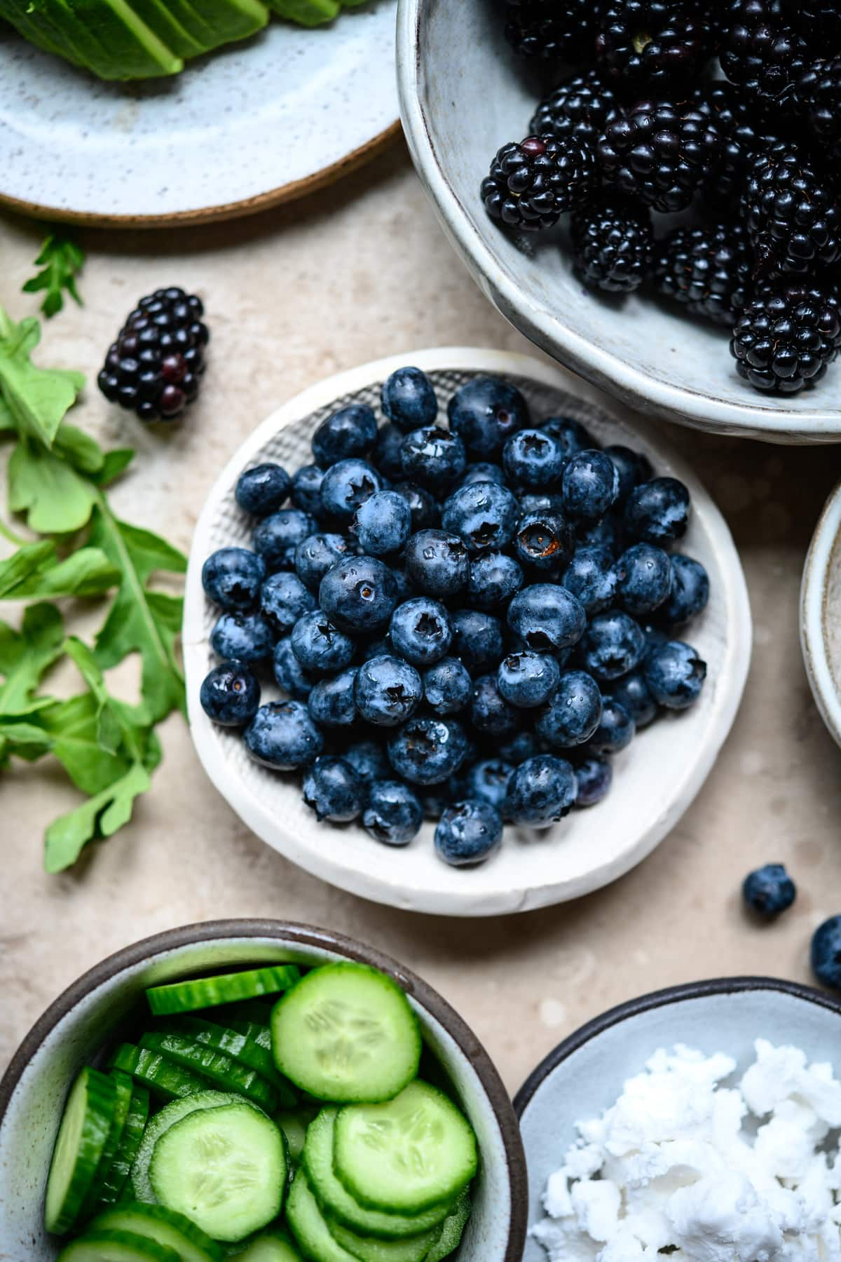 close up view of blueberries in small bowl
