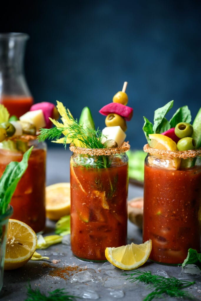 side view of bloody mary bar with garnishes