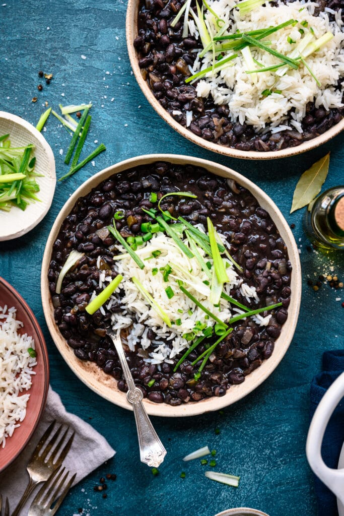 overhead view of vegan cuban black beans and rice in bowl
