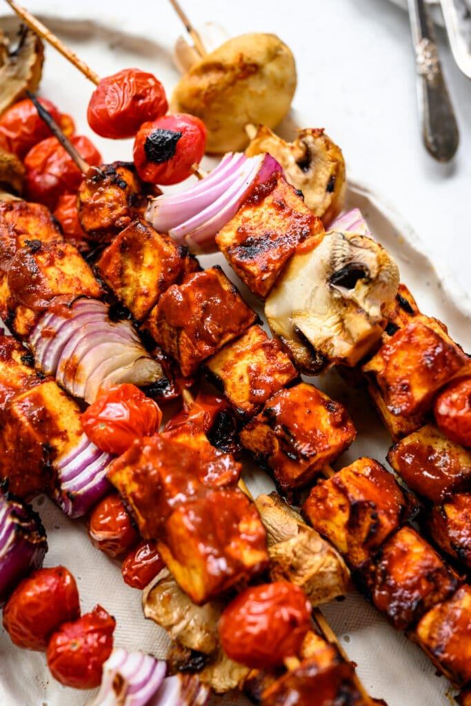 close up of vegan barbecue tofu kebabs