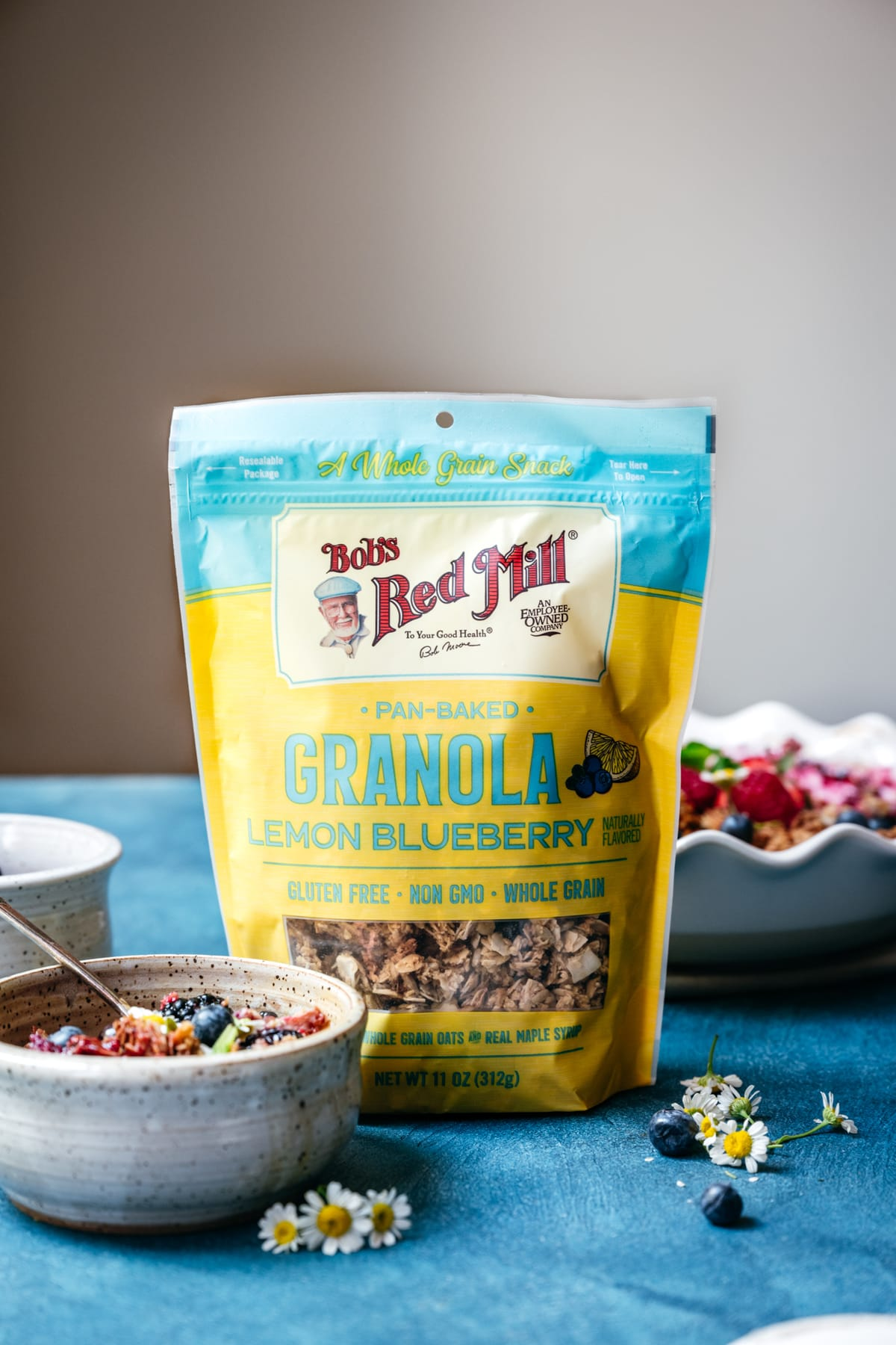 side view of Bob's Red Mill Lemon Blueberry Granola