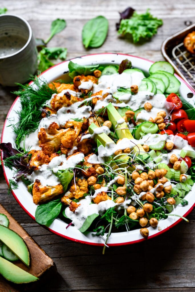 side view of buffalo cauliflower salad with ranch