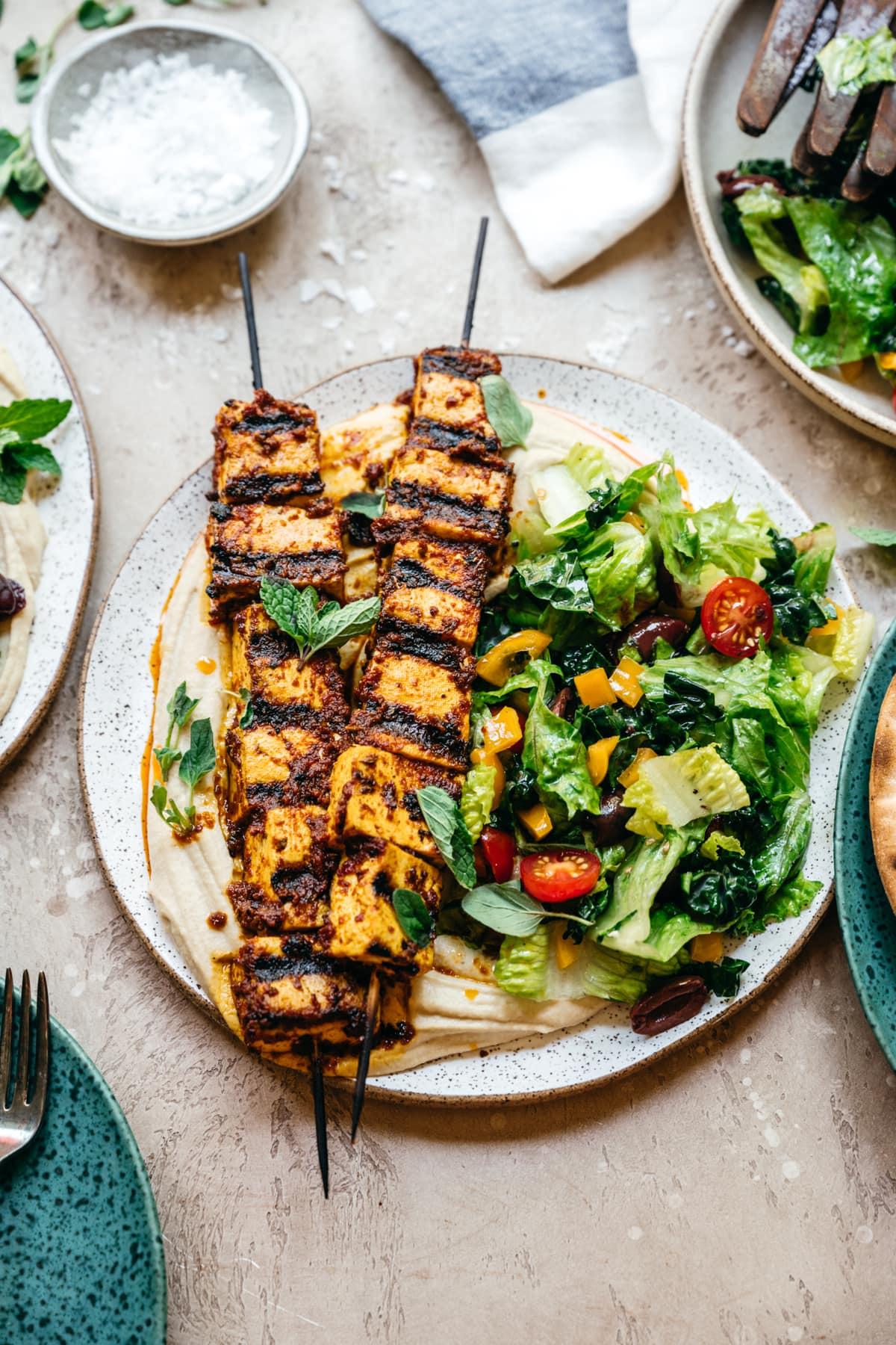 side view of Mediterranean grilled tofu kebabs