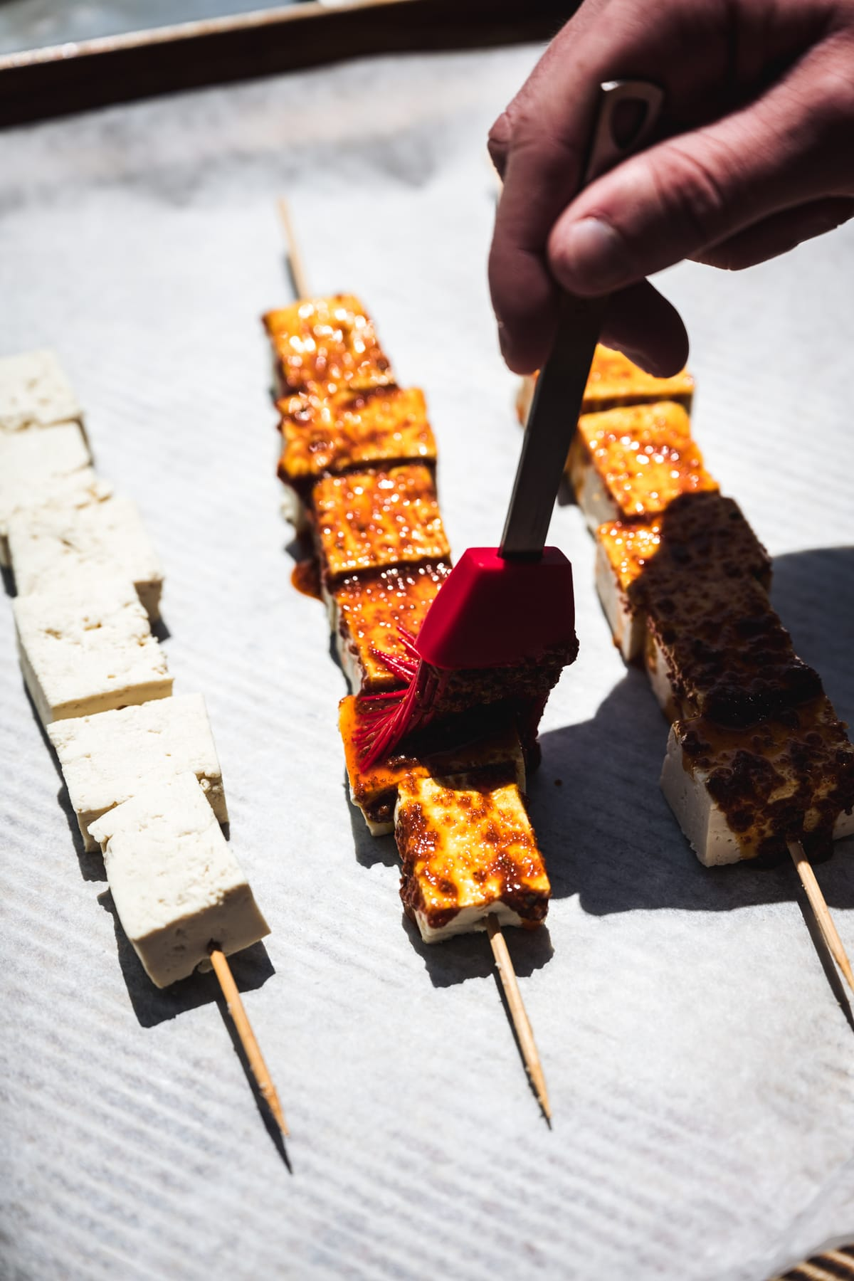 Moroccan spices tofu kebabs brushed with marinade