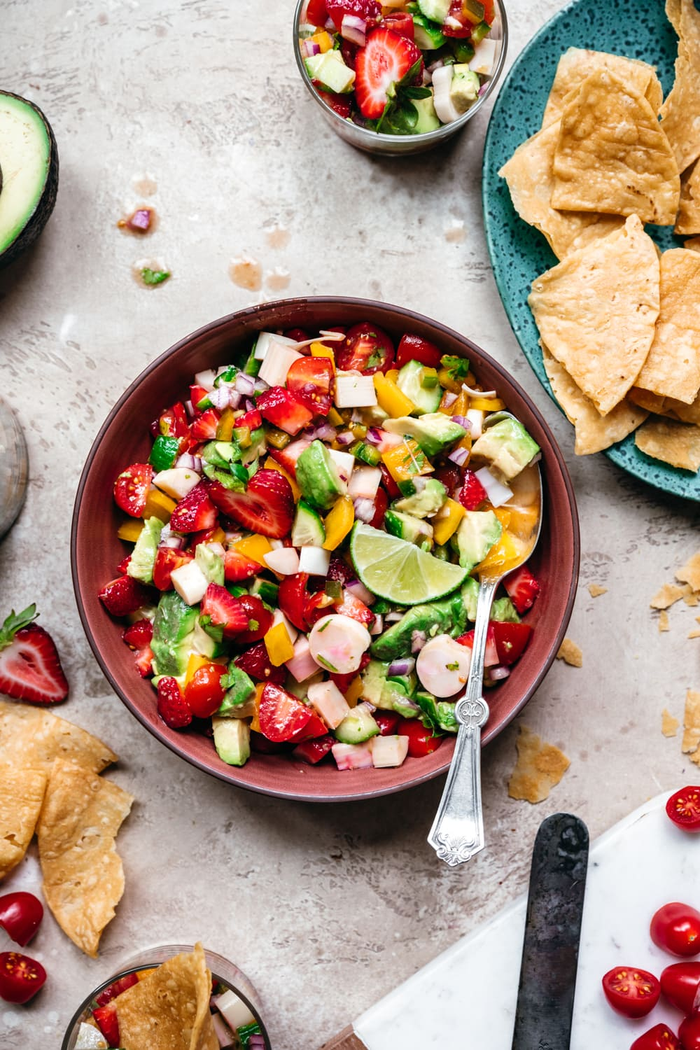 overhead view of vegan ceviche in a bowl
