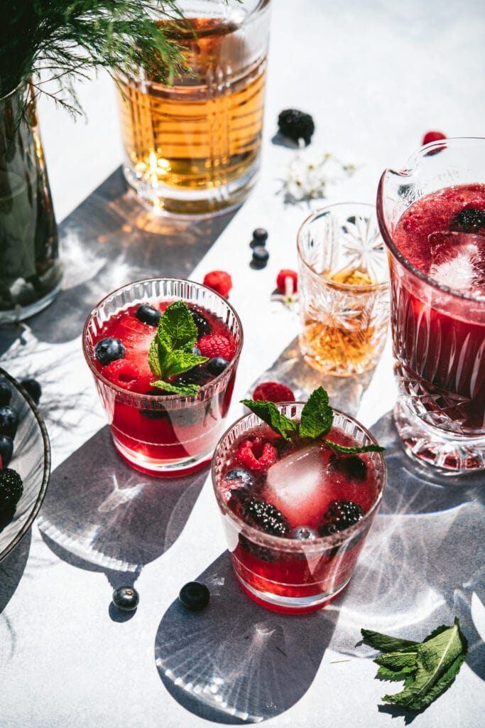 side view of berry bourbon lemonade