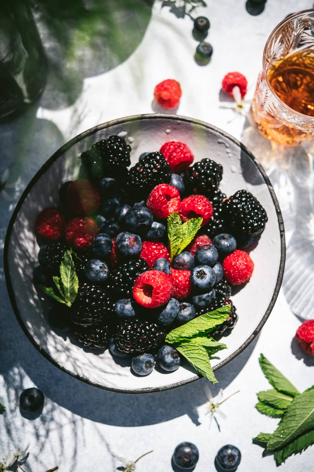overhead view of berries in a bowl