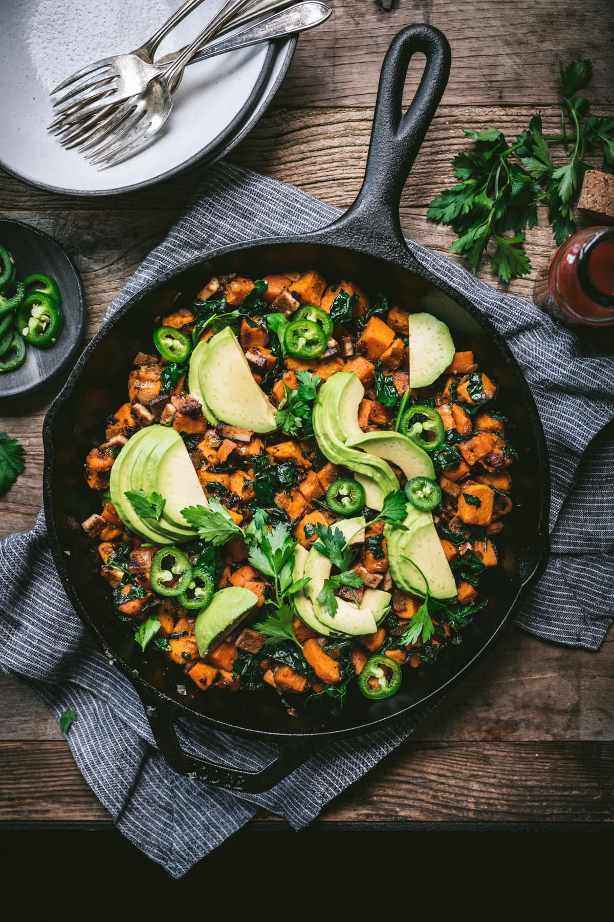 overhead view of vegan sweet potato breakfast hash in skillet