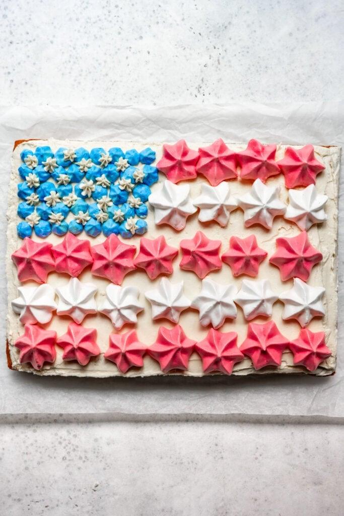 overhead of vegan US flag cake