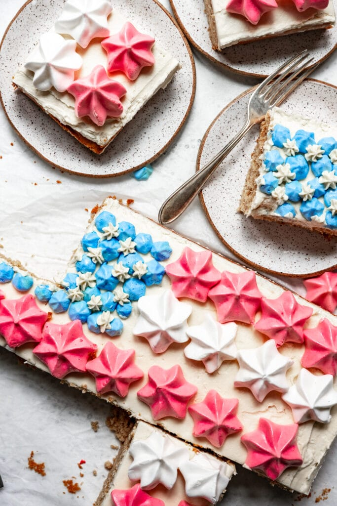 overhead view of slices of vegan flag cake for july 4th