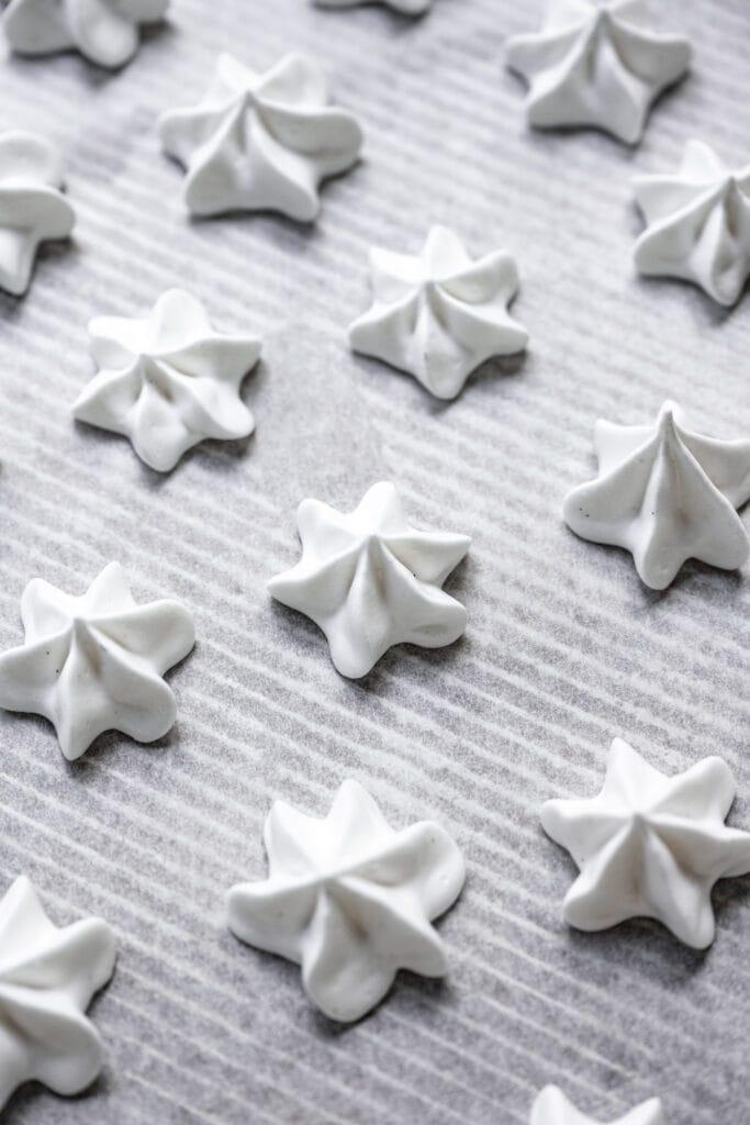 vegan meringues on baking sheet
