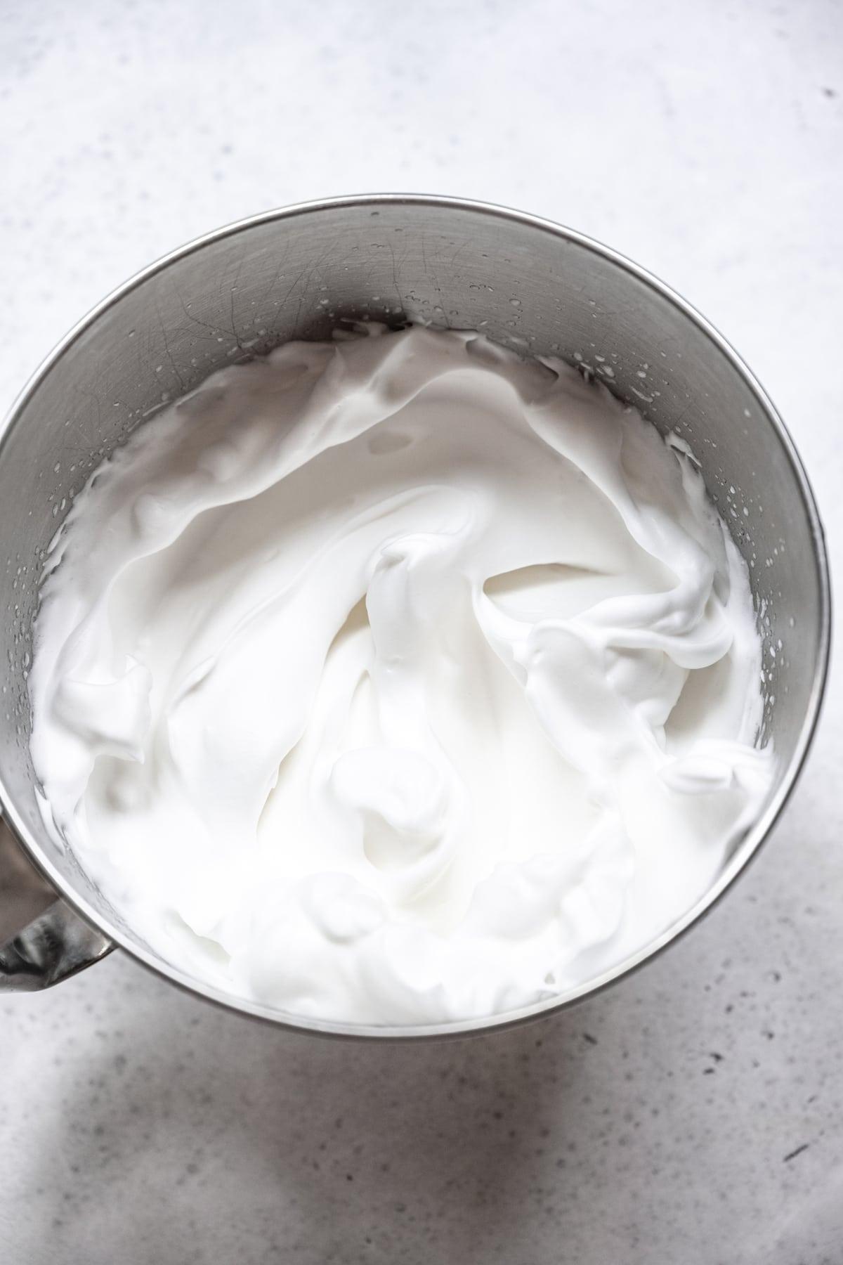 vegan aquafaba meringue in mixing bowl