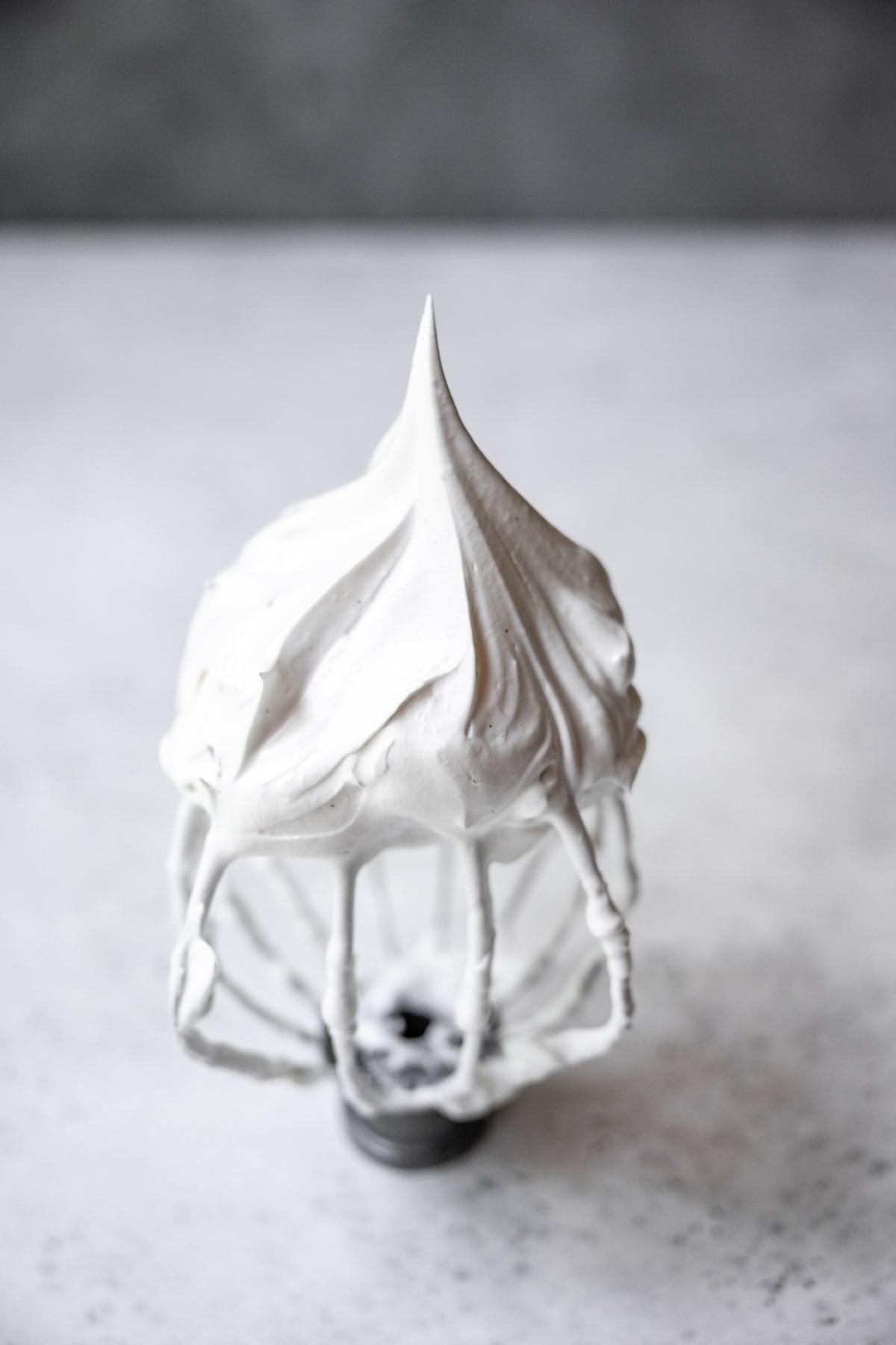 vegan meringue on a whisk attachment